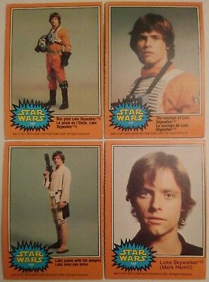 1977 O Pee Chee Series 3 Star Wars Lot 4 Luke Skywalker Cards Mark Hamill Opc