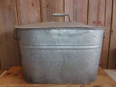 Vintage Farm House Canning Food Old Metal Galvanized Canner Boiler Tub W/lid