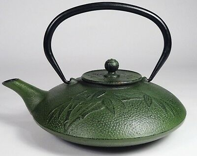 Cast Iron Japanese Teapot, Kettle, Tetsubin, Bamboo Pattern, Dark Green