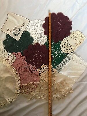 Vintage - Hand Crocheted Doilies Lot Of 14