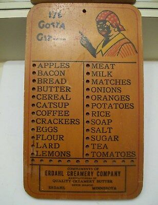 Vintage Black Americana Wooden Grocery List, Ad from Erdahl, Minn.