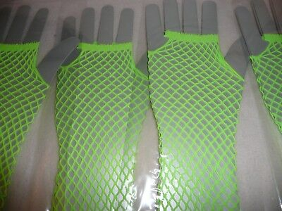 Pair Of Fishnet Fingerless Gloves Neon Green 80's Punk Fancy Dress.99P Start