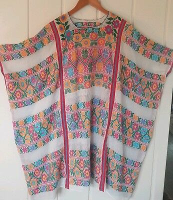 Vintage Mexican Handmade Cross Stitch Floral Embroidered Gauze Huipil Dress..