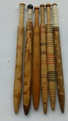 Collection Of 6 Engraved Or Onion Stained Honiton Lace Bobbins