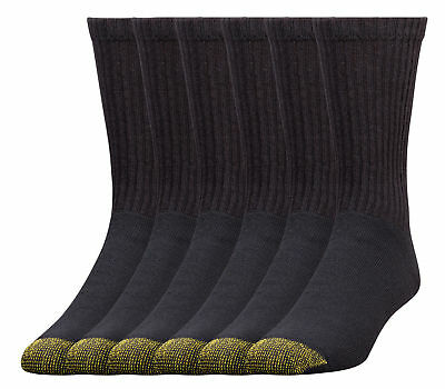 Extended Size Gold Toe Men's Socks Cotton Cushioned Crew, 8 pair Gold Toe Black