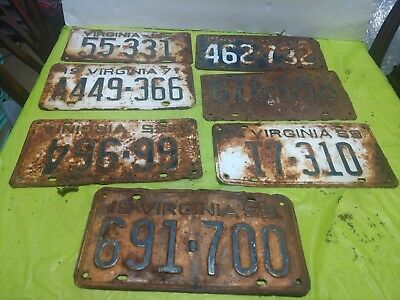 L06 License plate tag 1950s and 1960s VA  - Virginia