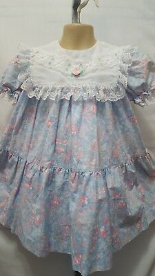 "Vtg Usa Made ""peaches N Cream"" Dainty Floral Sheer Collar Embroidered Dress 5"