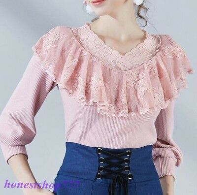 Fashion Womens Sexy Pink Lace Hollow Out V-Neck Long Sleeve Casual Slim Fit Tops