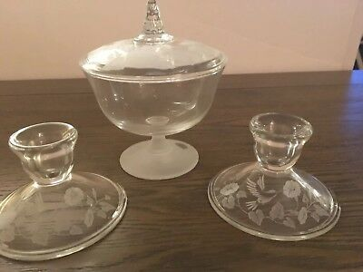 (2) AVON 24% Lead Crystal Etched Hummingbird Candle Holders & Candy Dish
