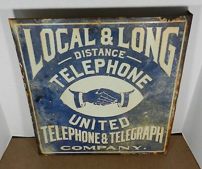 RARE Vintage United Telephone & Telegraph Company Porcelain Flange Sign