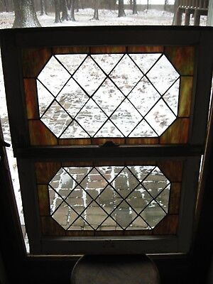 Stained Glass Window Set (2) Vintage Salvage Sash  24 x 15 Includes Ship
