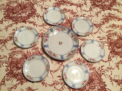 Antique Nippon Cake Plate 7 Piece Set Hand Painted Roses