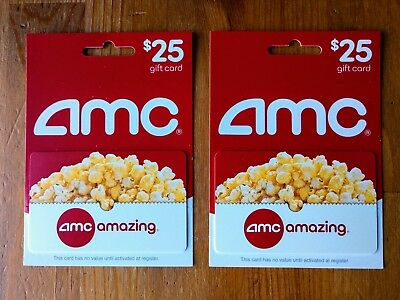 2 $25 AMC Gift Cards, Brand New, Never Used. $50 Total