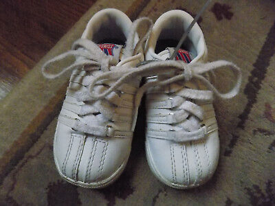 Cute Infant Baby sz 4 K-SWISS White 5 CLASSIC STRIPE Sneakers Athletic Shoes GUC