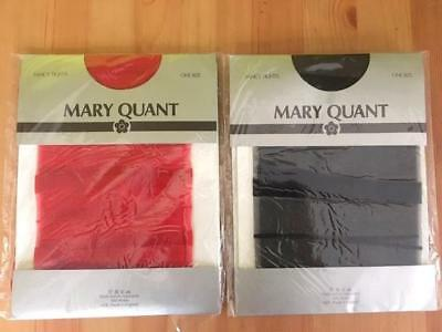 Vintage Mary Quant Fancy Red And Black Tights, Made In England Lined Pattern