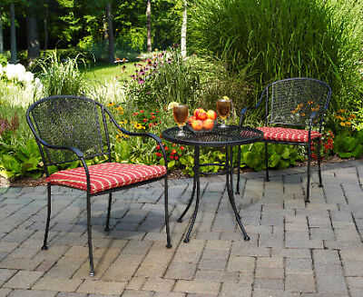 Outdoor Metal Bistro Set 3Pc Black Wrought Iron Patio Balcony Furniture Cushions