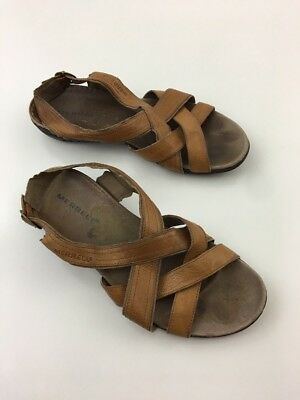 1f66570c42e7 Merrell Bassoon Tan Open Toe Sandals Womens Sz 9 Brown Leather Strap Shoes