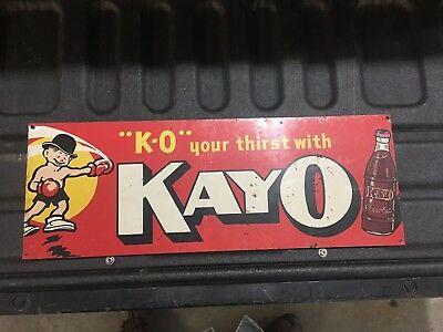 """Vintage Metal Ad Sign Kayo Chocolate Soda """" K-O Your Thirst With """""""