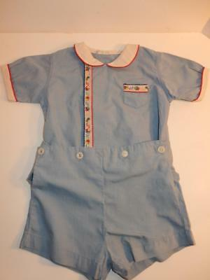 Vintage 1940S Royal Baby Boy Romper Blue Red Shorts Outfit Or Composition Doll