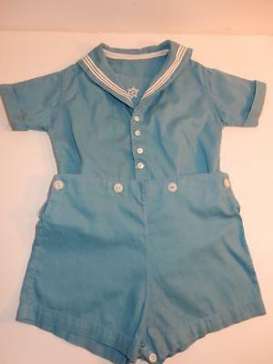 Vintage 1940S Baby Boy Romper Blue Sailor Shorts Outfit Or Composition Doll