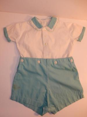 Vintage 1940S Royal Baby Boy Romper Green Fancy Shorts Outfit / Composition Doll