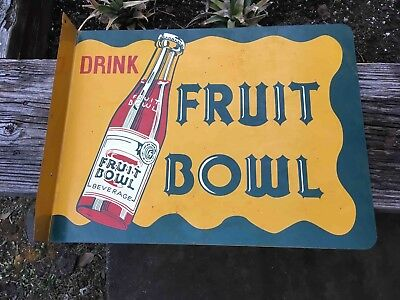 Vintage Drink Fruit Bowl Soda Double Sided Painted Advertising Flange Sign
