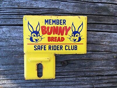 Vintage Member Bunny Bread Safe Rider Club Old Kid's Bicycle Tag Rack Topper