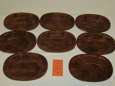(8) DIGSMED Denmark 4 Section  TEAK Wood Serving Trays  Marked 101 Mid Century