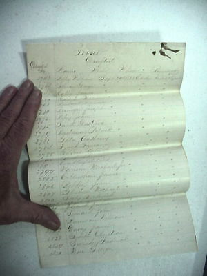 2 CIVIL WAR DRAFT ROSTERS from EASTON TEXAS Hand Written on Lined Paper 1863 64