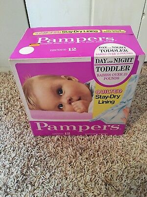 PAMPERS VINTAGE 1970's 12 CT BOX QUILTED TODDLER PLASTIC DIAPERS