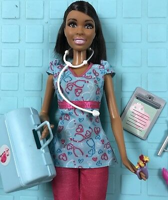 2001 ~Barbie Careers Nurse African-American AA Doll plus extra accessories VGUC