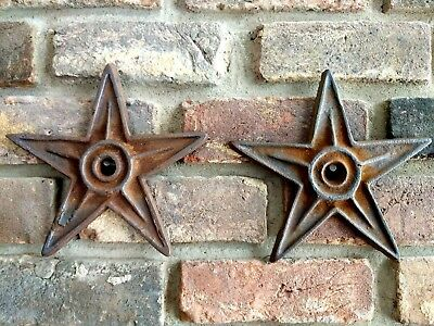 "2 Antique Cast Iron Stars Architectural Salvage 9"" American Hot Plate Snow Birds"
