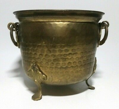 """Vtg India Brass Footed Urn Plant Holder Planter Handles 6.5"""" Tall Great Patina"""