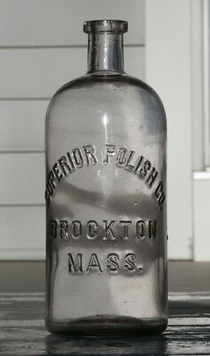 Antique SUPERIOR POLISH CO., BROCKTON, MASS., Early Blown Utility Bottle