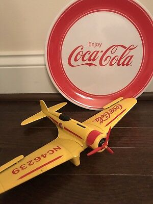 Collectible Coca Cola Diecast Metal Airplane Plane Bank and Plate Set