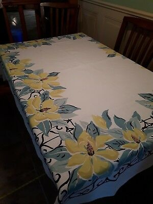 Lovely Hand Printed Vintage Linen Tablecloth-Large Rare Magnolia Flowers