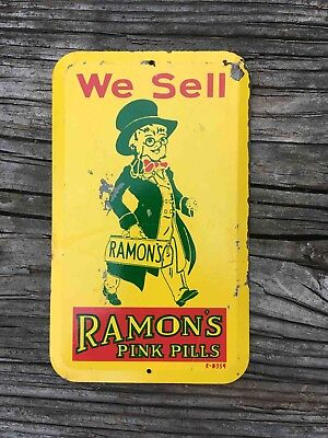 Vintage We Sell Ramon's Laxative Pink Pills Tin Door Push Plate Palm Press
