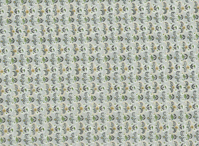 """Vintage Green White Gold Floral Quilting Cotton Fabric, 1 Yard 22"""" x 34"""" Wide"""