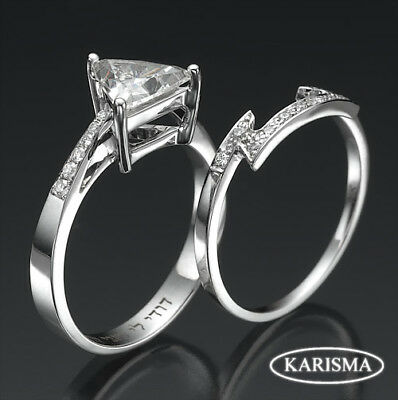 Trillion Diamond Ring And Band Set Triangle 1.46 Carat Eye Clean 14K White Gold