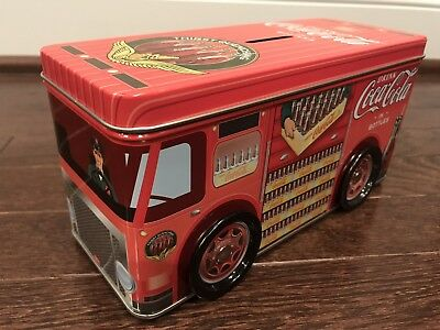 """Collectible """"Drink Coca Cola"""" Metal Bus Coin Bank with Rolling Wheels"""