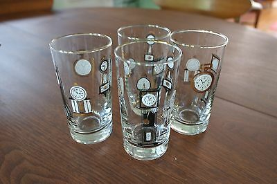 Great VTG Libbey 50s 60s Retro Clocks Watches Barware Cocktail Glasses Curio