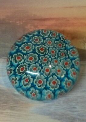 Art Glass Millefiori Paperweight - Turquoise, Red and White Flower Cane