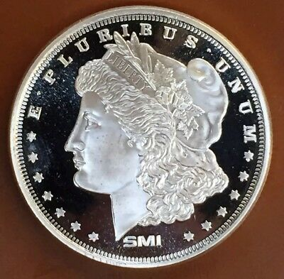 "SMI ""Morgan Dollar"" Type Proof 1 Troy Oz Ounce .999 Silver Coin Art"