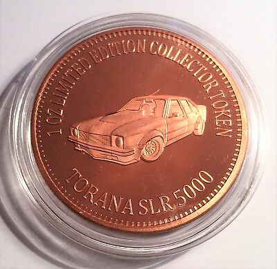 "NEW 2018 ""HOLDEN TORANA SLR 5000"" M/Car Series ""1"" 1 0z 999 Solid Copper Coin"