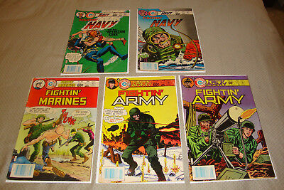 Charlton War Comics Lot Of 5 Fightin' Marines, Army, Navy GD/VG To FN Condition