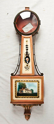 Waltham weight driven banjo clock case only @ 1920s Excellent Original Glasses