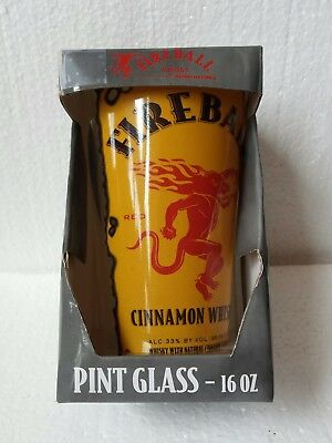 New In Box Fireball Cinnamon Whiskey Pint Glass Alcohol Advertising Logo Cup