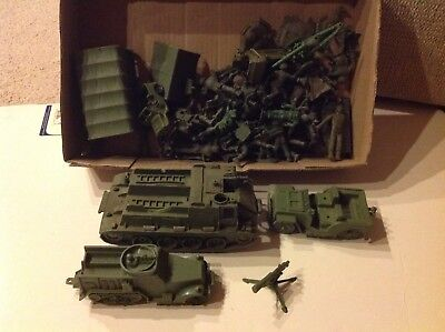 VIntage Auburn Army Tank Half-Track Truck Jeep Cannon toy soldiers Marx MPC