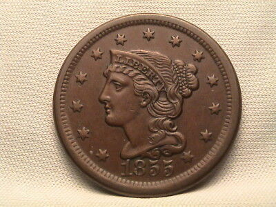 1855  Braided Hair Large Cent.  Upright 55!