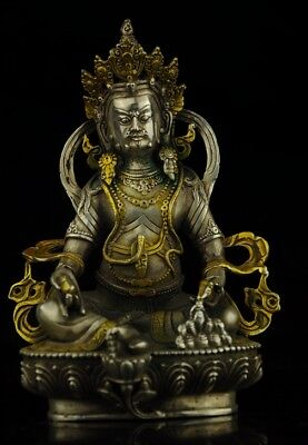 Chinese Tibet old Copper Plating Silver Gilt Casting Cai Shen Buddha Statue e02